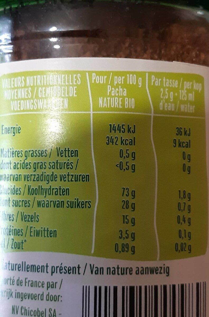 Chicorée Soluble - Nutrition facts - fr