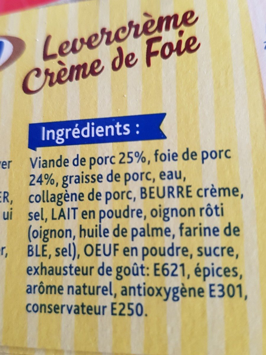 Crème de foie - Ingrediënten - fr