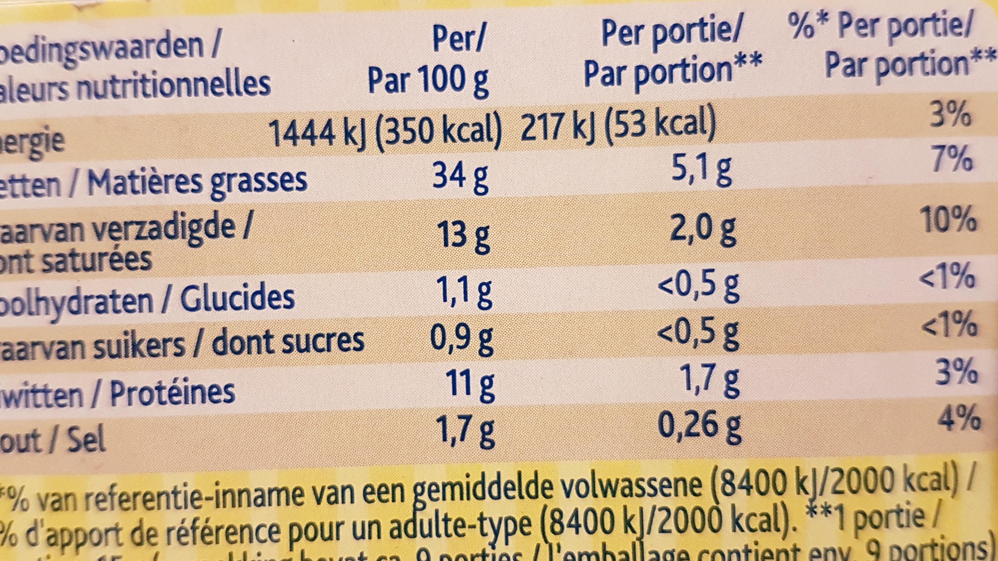 Crème de foie - Voedingswaarden - fr