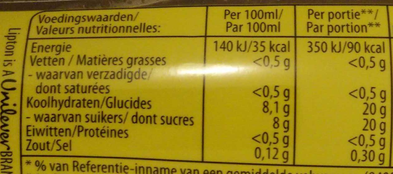 Sparkling Ice Tea - Voedingswaarden - nl