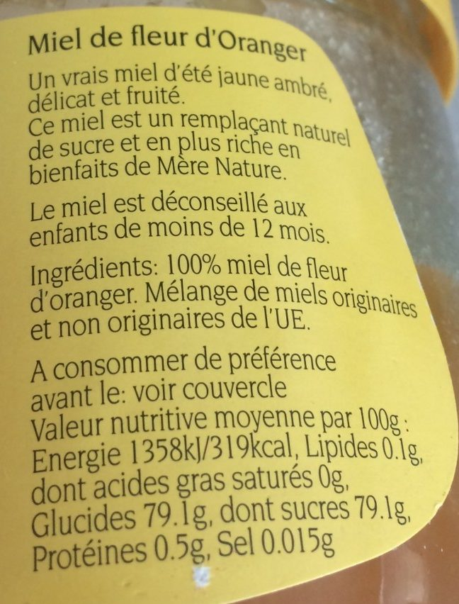 miel d'oranger - Ingredients - fr