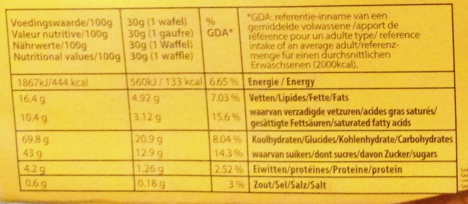 Meli - Nutrition facts