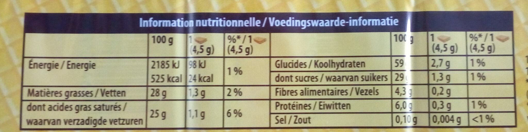 Cent wafers - Nutrition facts - fr