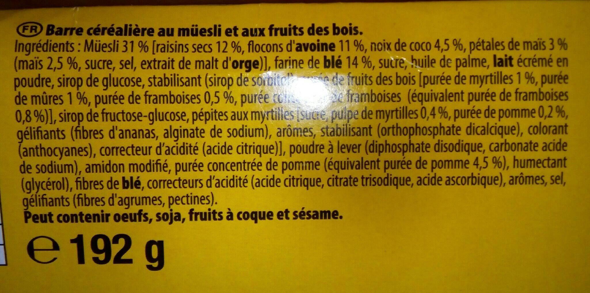 Moelleux fruits des bois - Ingrédients - fr