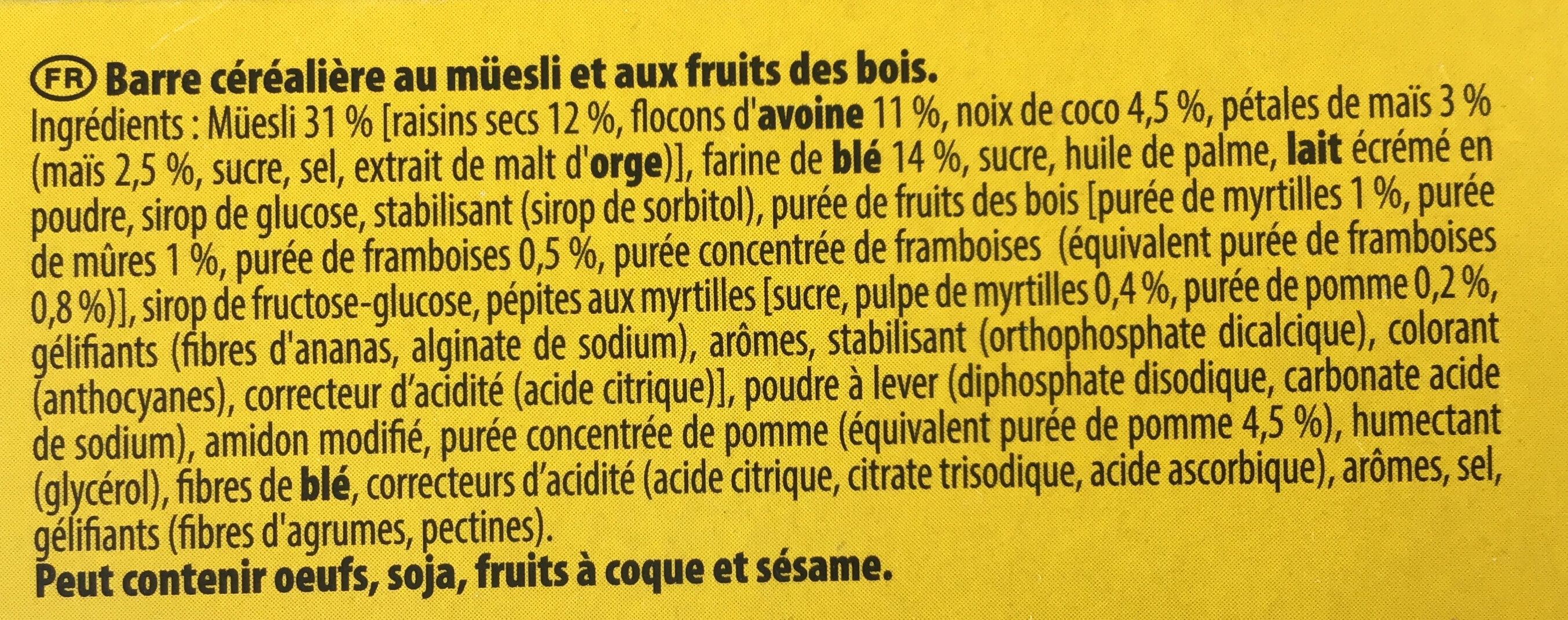 Grany, moelleux, fruit des bois, riche en fruits - Ingrediënten - fr