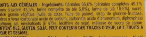 Grany Biscuit Céréales - Ingredients - fr