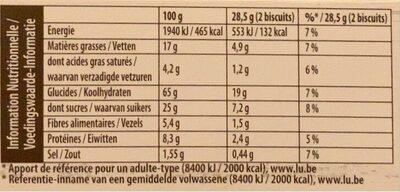 Grany Biscuit Céréales - Nutrition facts - fr
