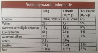 Dunne maiswafels - Voedingswaarden - nl
