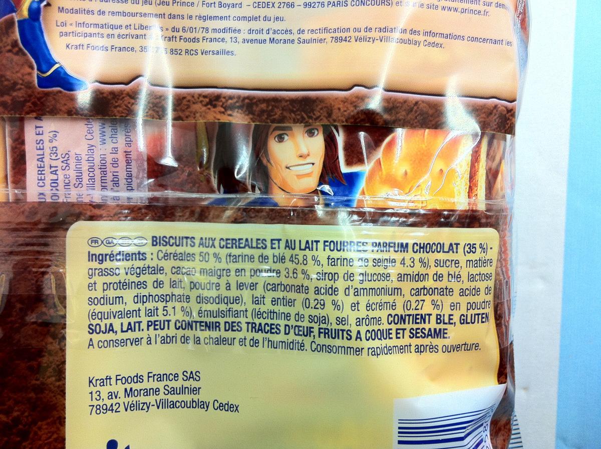 Prince Lu goût chocolat - Ingredients