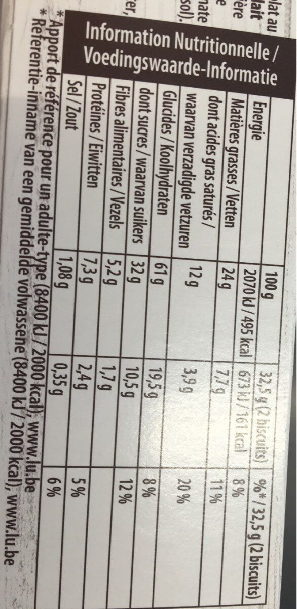Biscuit Grany Chocolat au lait - Informations nutritionnelles - fr