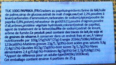 TUC Paprika - Ingrediënten