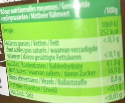 Confiture D'abricots, 450 Grammes, Marque Materne - Informations nutritionnelles