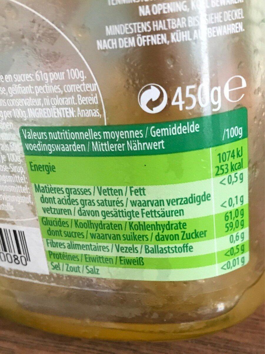 Confiture D'ananas - Voedingswaarden - fr