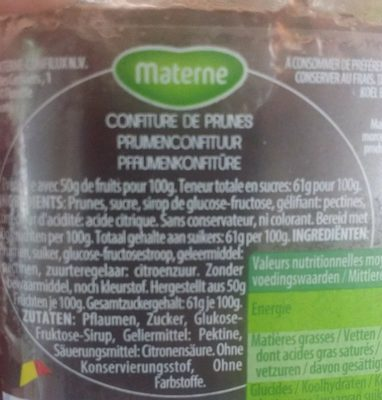Confiture de Prunes - Ingrediënten