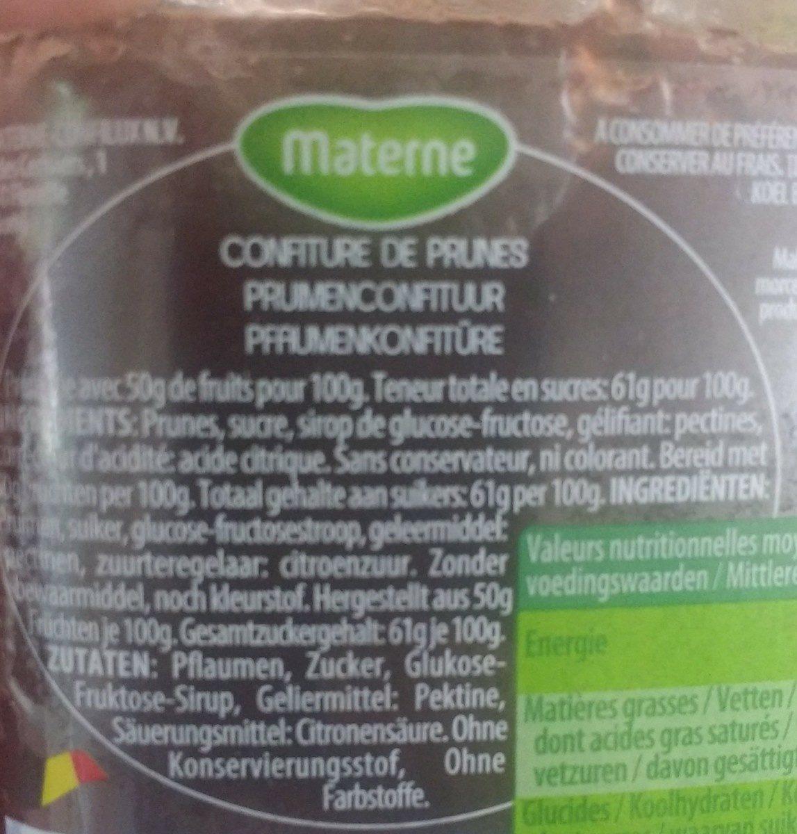 Confiture de Prunes - Ingrediënten - fr