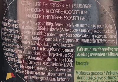 Confiture Fraises & Rhubarbe - Ingrediënten - en