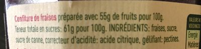 Confiture De Fraises, Nostalgie, 265 Grammes, Marque Materne - Ingrediënten