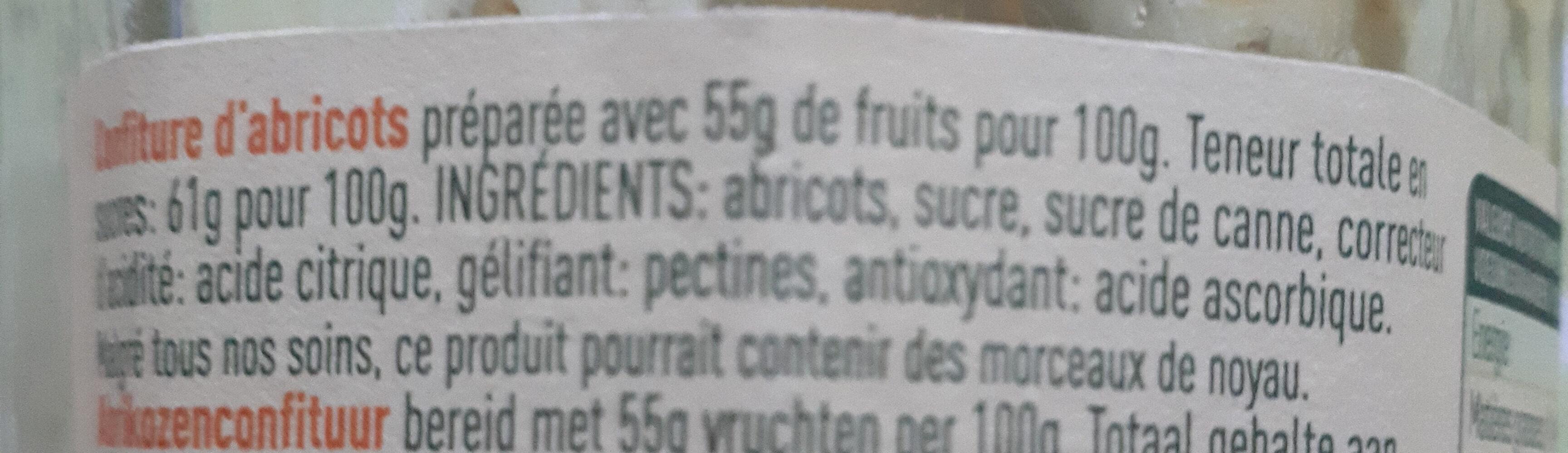 Confiture Abricots - Ingredients - fr