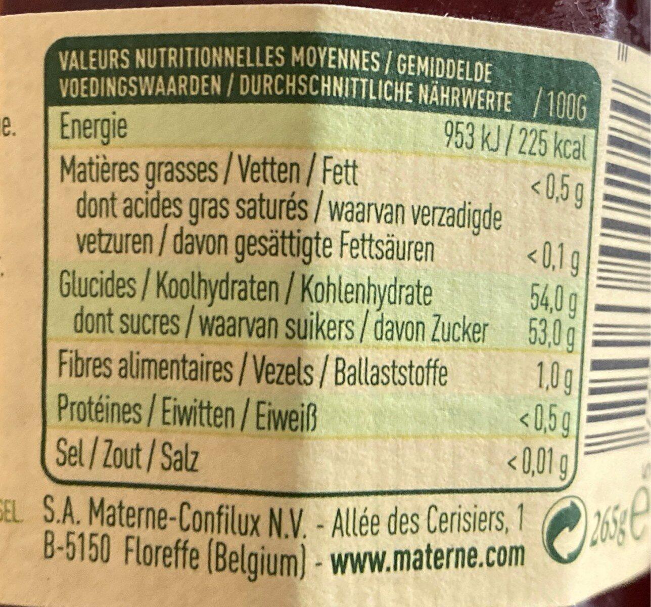 Confiture Quetsches d'Alsace - Voedingswaarden - fr