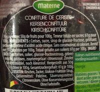 Materne Confiture De Cerises 720 GR - Ingrediënten - en