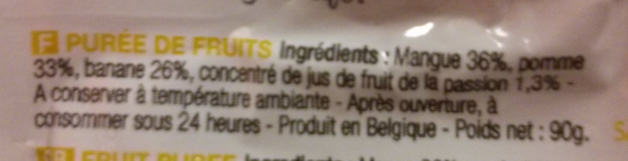 Buddy Fruits -  Mangue Pomme Passion - Ingredients - fr