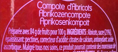 Compote D'abricots, 375 Grammes, Marque Materne - Ingrediënten - fr