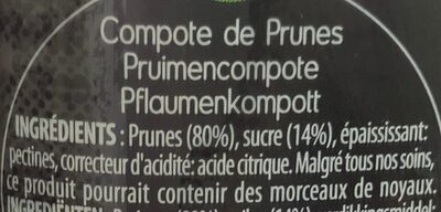Compote Prunes MATERNE - Ingredients - fr