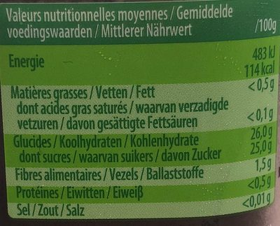 Compote Prunes MATERNE - Nutrition facts - fr