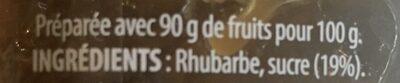 Compote rhubarbe - Ingrédients