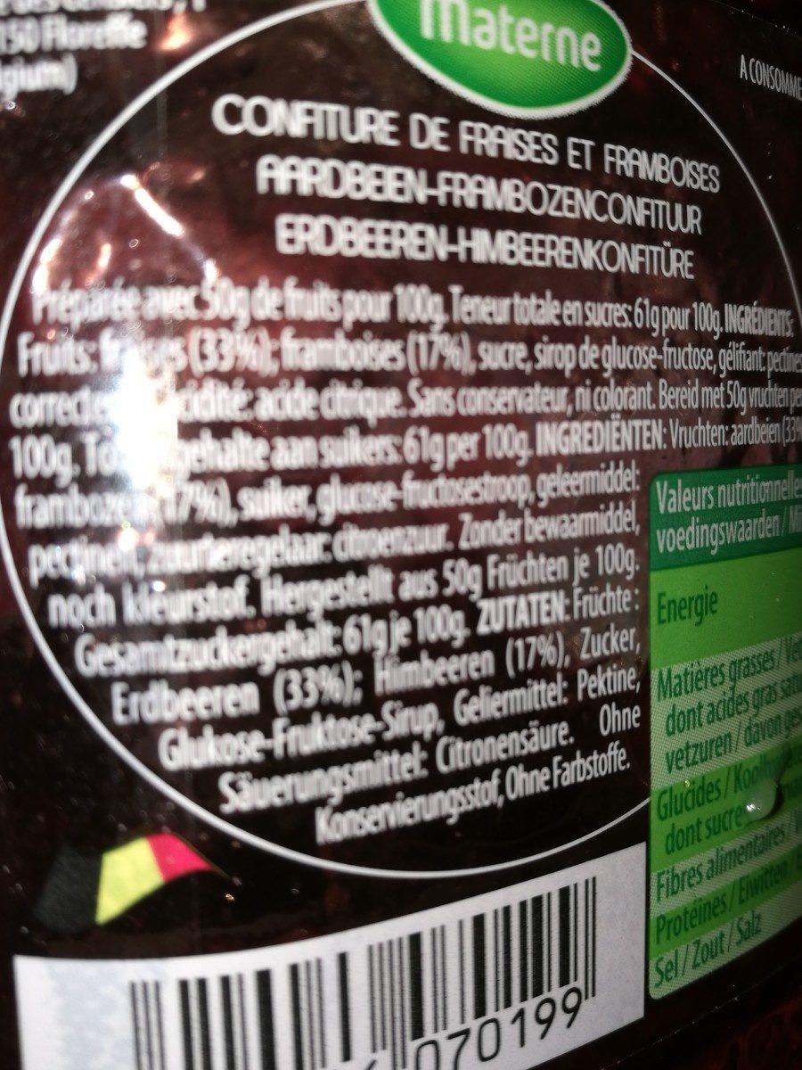 Confiture Fraises & Framboises - Ingrediënten - fr