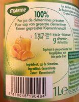 Jus de clementines pressées - Ingrediënten - fr