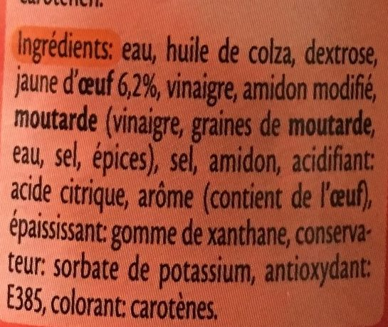 Mayonnaise light - Ingredients - fr