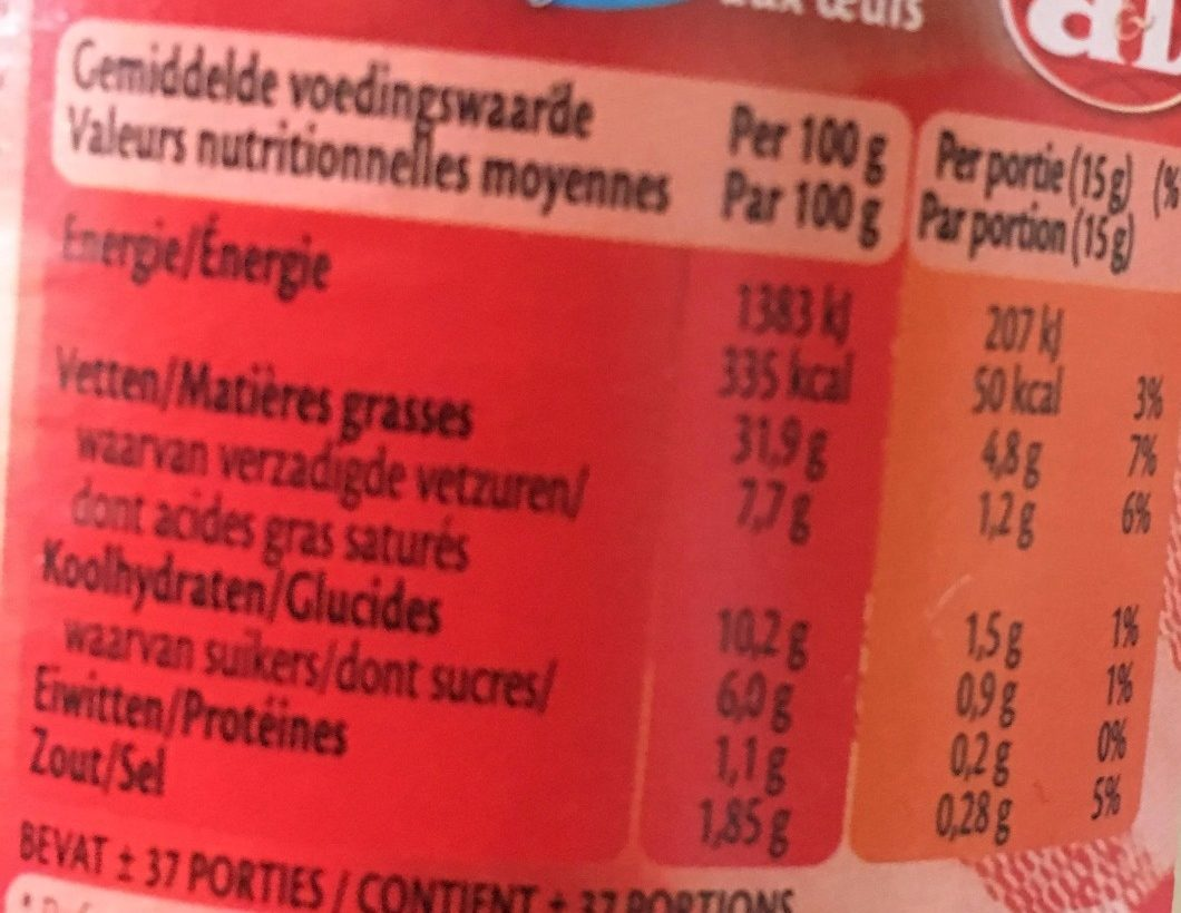 Mayo light - Nutrition facts - fr