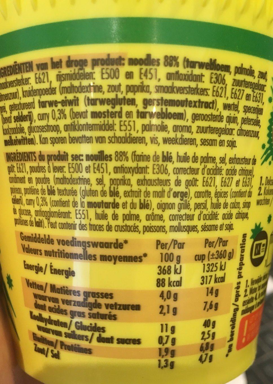 Aïki Noodles Cup Curry - Voedingswaarden