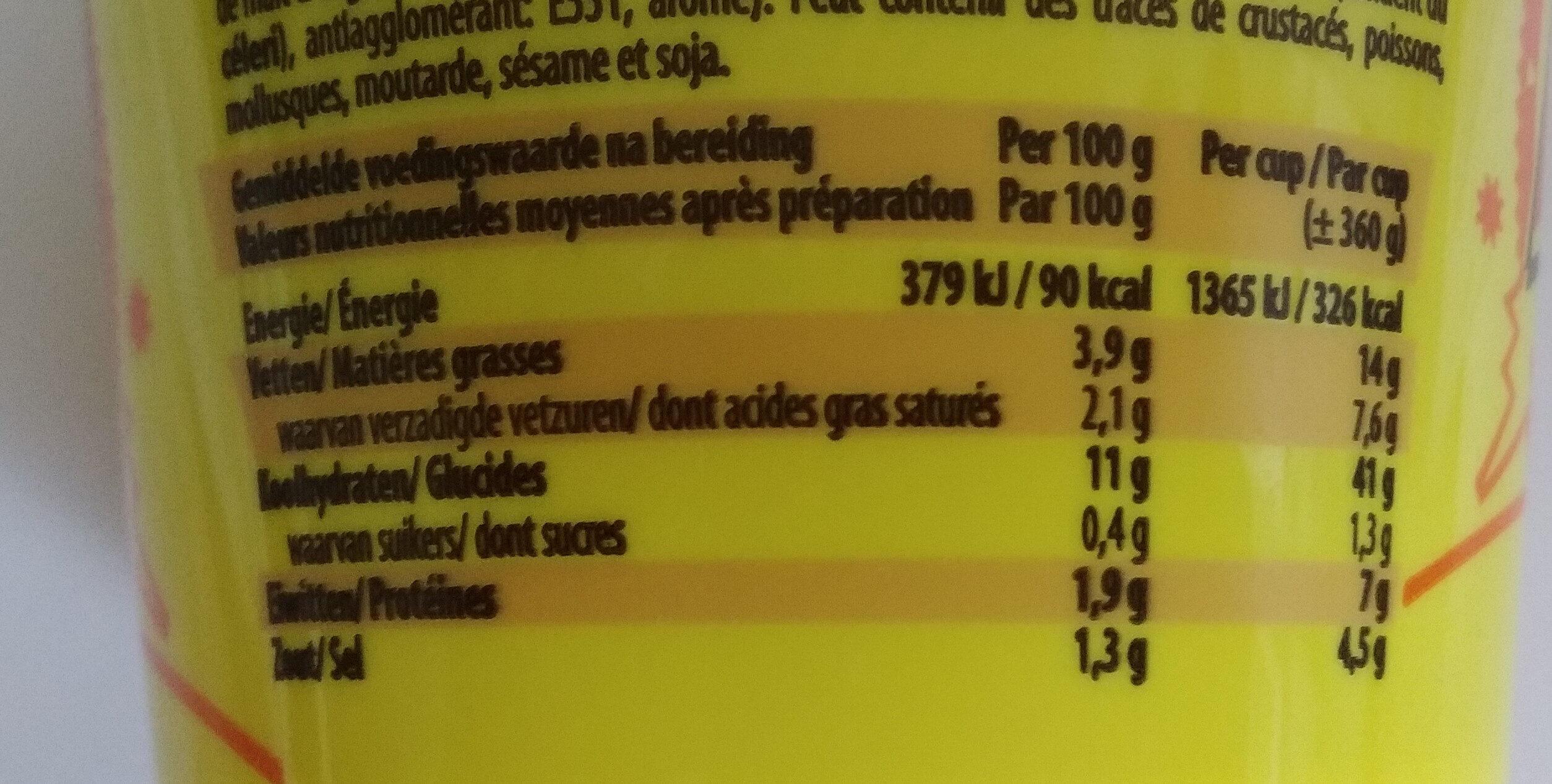 Aïki Noodles Cup Chicken - Nutrition facts