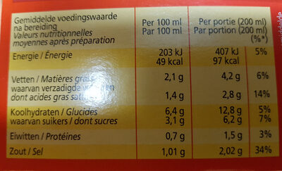 Soupe En Sachet Tomate 3 Unités Ea - Voedigswaarden