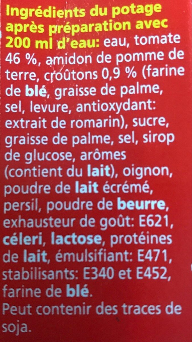 Soupe tomate - Ingredients - fr