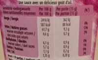 Pita - Sauce avec un délicieux goût d'ail - Informations nutritionnelles - fr