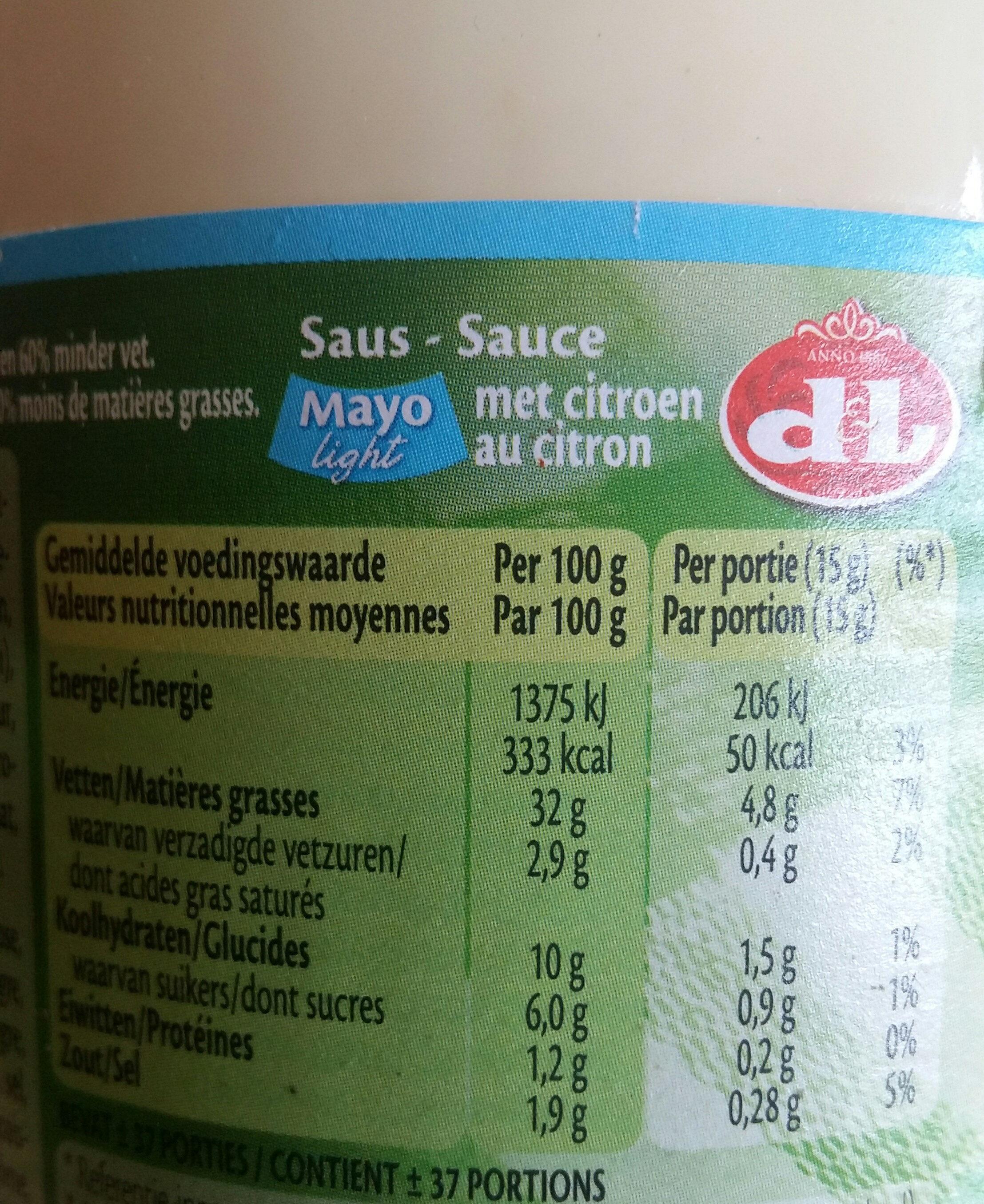 Mayo light - Voedingswaarden - fr