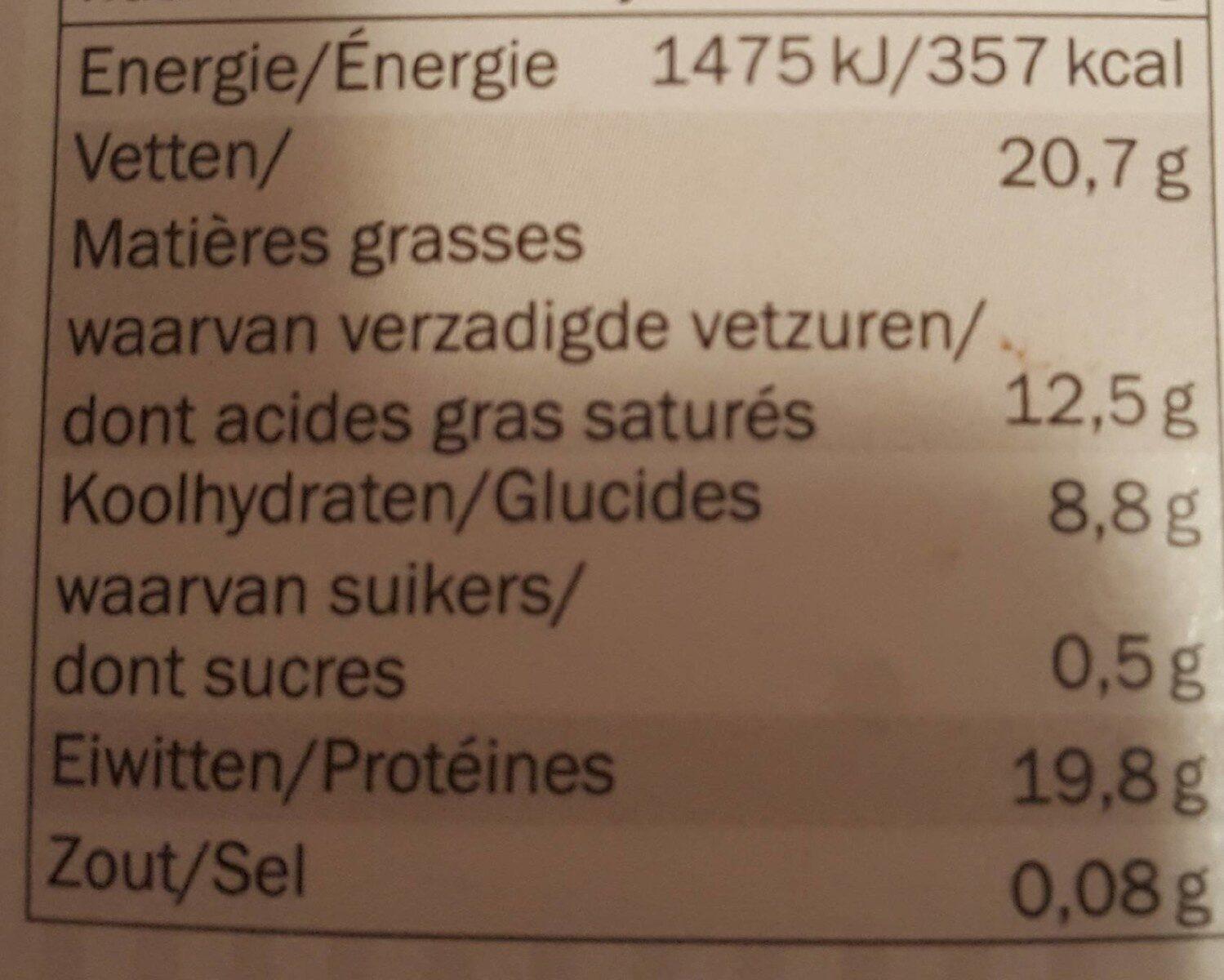 Cacao - Voedingswaarden - fr