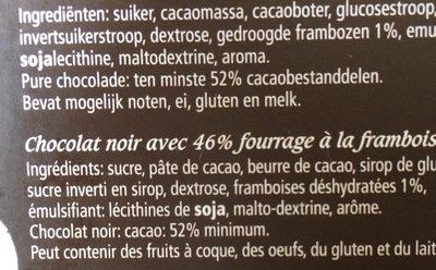Chocolat Framboise Puur-noir - Ingrédients - fr
