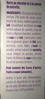 Barres choco noisette - Ingrédients - fr