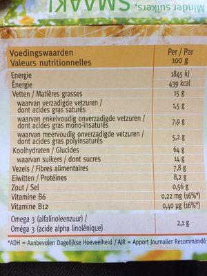 Céréal Miel-châtaigne Biscuits - Informations nutritionnelles - fr