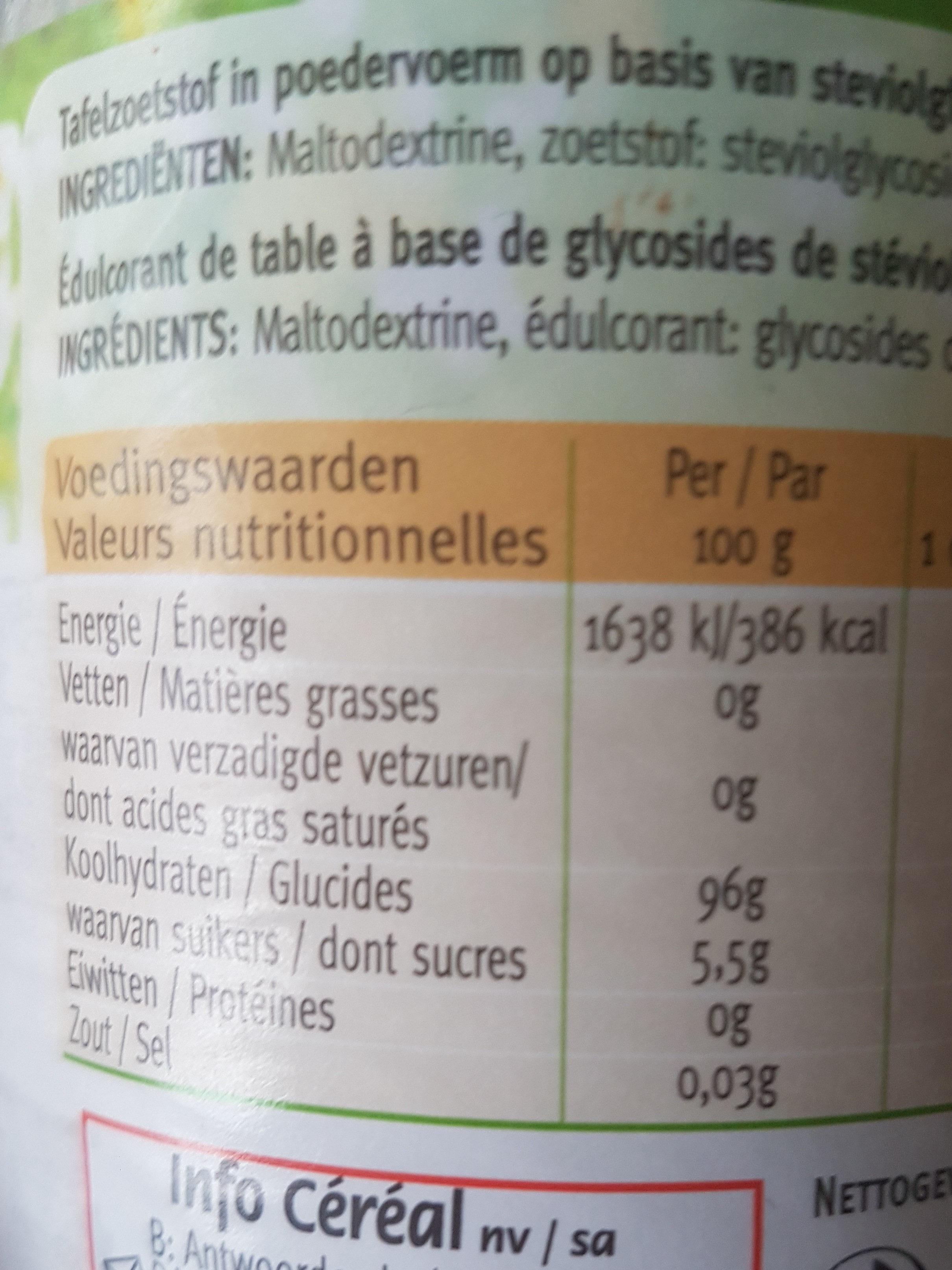 Céréal Stevia sweet - Voedingswaarden