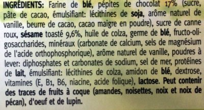 Céréal Sésame-chocolat Biscuits - Ingrediënten - fr