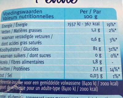 Céréal Pâtes Sans Gluten - Informations nutritionnelles