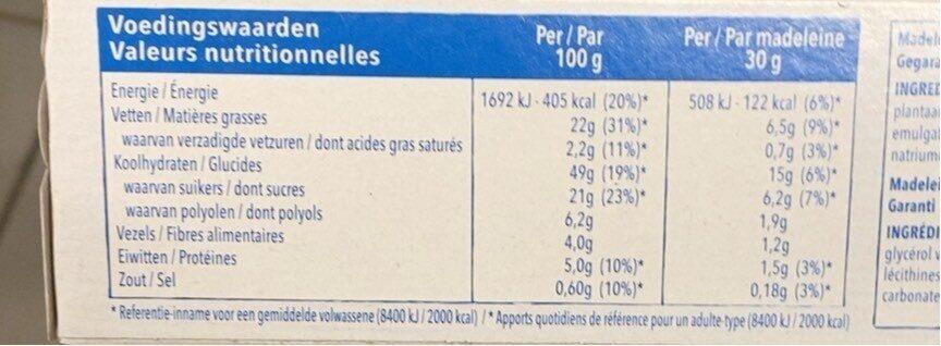 Céréal Madeleines - Nutrition facts - fr