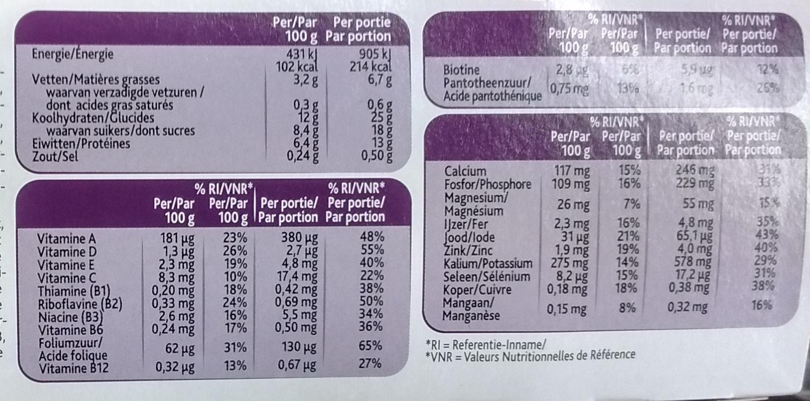 Mon repas saveur Vanille Caramel - Informations nutritionnelles