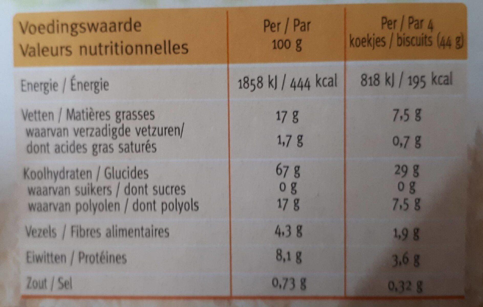 Céréal Sésame-vanille Biscuits - Voedingswaarden