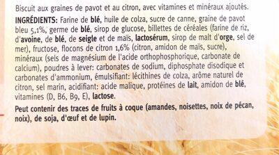 Biscuit citron/pavot - Ingrediënten